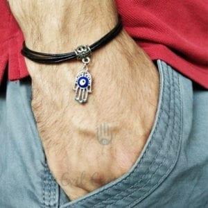 Hamsa Hand Leather Evil Eye Bracelet