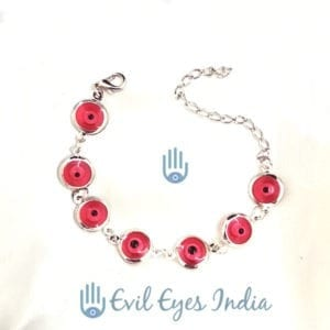 Silver Plated Evil Eye Bracelet Red