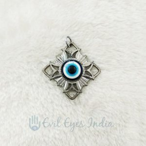 Oxidized Evil Eye Pendant Big
