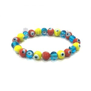 Evil Eyes Bracelet - Red, Yellow and Turquoise beads