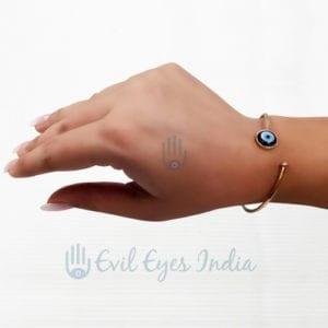 Open End Bangle Bracelet With Evil Eye