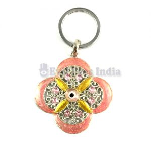4 Petals Evil Eye Keychains - Baby Pink