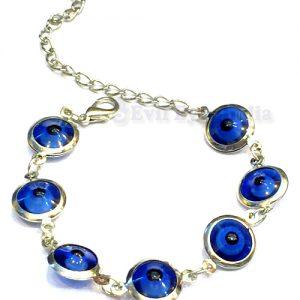Silver Plated Blue Evil Eye Bracelet