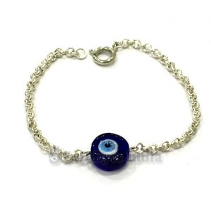 Genuine Evil Eye Bead in Silver Colored Chain