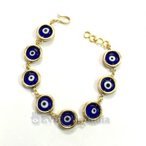 Evil Eye Bracelet with Authentic Blue Beads in Rings
