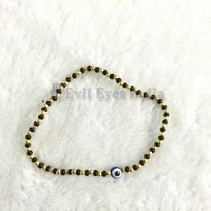 Cute Evil Eye Bracelet with Black & Golden Beads