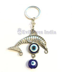 Dolphin Evil Eye Keychain