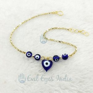 Vintage Gold Colored Evil Eye Heart Bead Anklet
