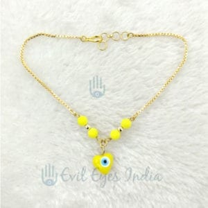 Heart Bead Evil Eye Anklet (Yellow)