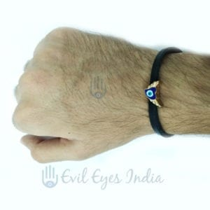 Leather Evil Eye Winged Bracelet