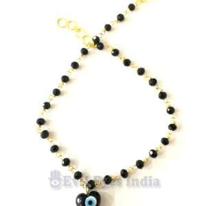Evil Eye Anklet Heart Bead – Black