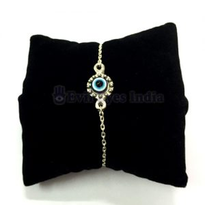 Evil Eye Bracelet in Silver colored Chain