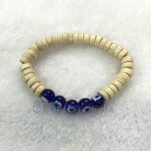 Evil Eye Bracelet with Wooden Beads