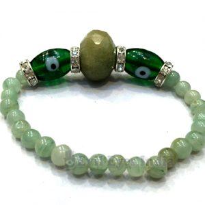 Evil Eye Bracelet with Jade Stones