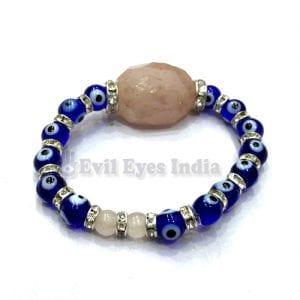 Evil Eye Bracelet with Rose Quartz