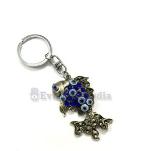 Evil Eye Key chain with Oxidized Fish
