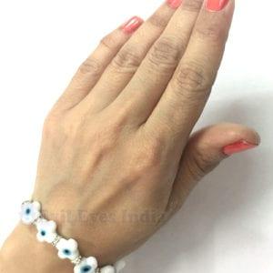 White Floral Evil Eye Bracelet for Peace