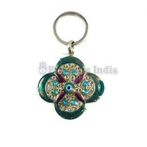 4 Petals Evil Eye Keychains - Green