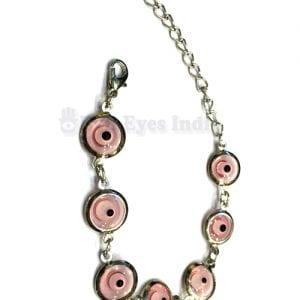 Silver Plated Pink Evil Eyes Bracelet