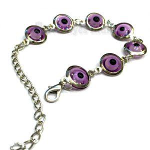 Silver Plated Purple Evil Eyes Bracelet