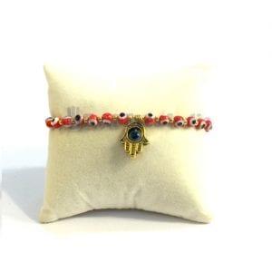 Tiny Evil Eye Beads Bracelet with Hamsa Hand