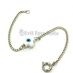 White Petal Evil Eye Bead with Silver Colored Chain