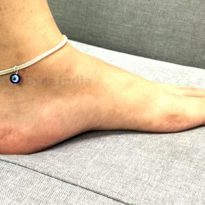 Silver Colored Classic Evil Eye Anklet