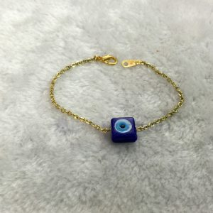 Chain Evil Eye Bracelet with Square Bead