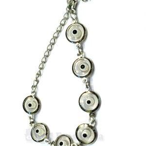 Silver Plated White Evil Eyes Bracelet