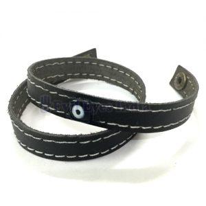 Evil Eye Bead Leather Bracelet
