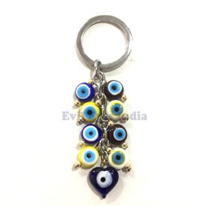Tiny Beads with Small Heart Evil Eye Keychain
