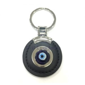 Leather Evil Eye Keychain