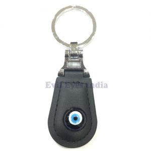 Leather Evil Eye Keychain Black