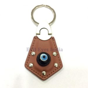 Leather Evil Eye Keychain Brown