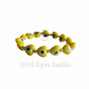 Cute Little Hearts Evil Eye Bracelet - Yellow