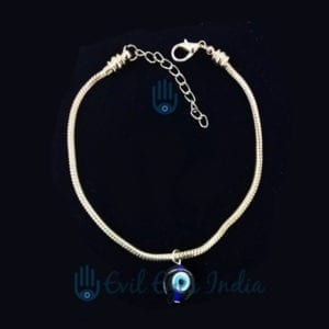 Oxidize Silver Colored Classic Evil Eye Anklet