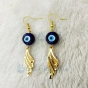 Evil Eye Earrings with Angel Feathers – Golden