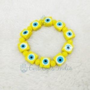 Evil Eye Square Beads Bracelet (Yellow)