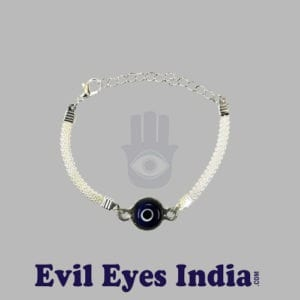 Evil Eye Bracelet with Silver Colored Chain