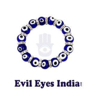 Evil Eyes Bracelet with Silver Zircons Big