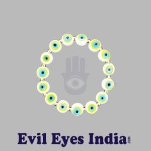 White Evil Eyes Bracelet