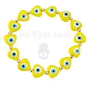 Cute Little Hearts Evil Eye Bracelet – Yellow