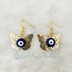 Evil Eye with Butterfly Earring Golden Colour
