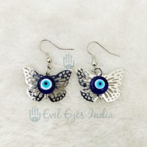 Evil Eye with Butterfly Earring Silver Colour