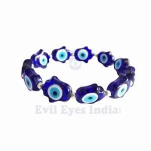Blue Hamsa Hand with Evil Eyes Bracelet