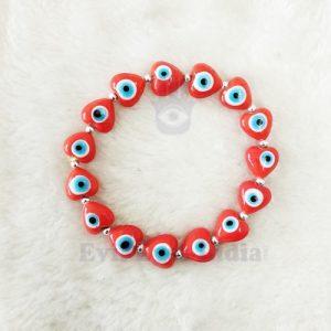 Cute Little Hearts Evil Eye Bracelet Red