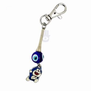Evil Eye Baby Keychain with Blue Doremon