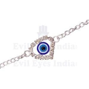 Silver Heart Shape Evil Eye Bracelet