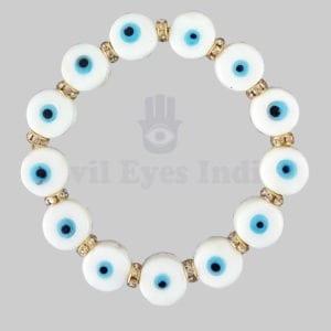 White Evil Eye Bracelet With Golden Zircons