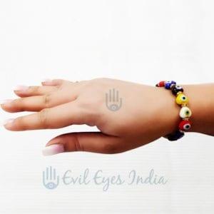 Multi-Colored Heart Shape Evil Eye Bracelet